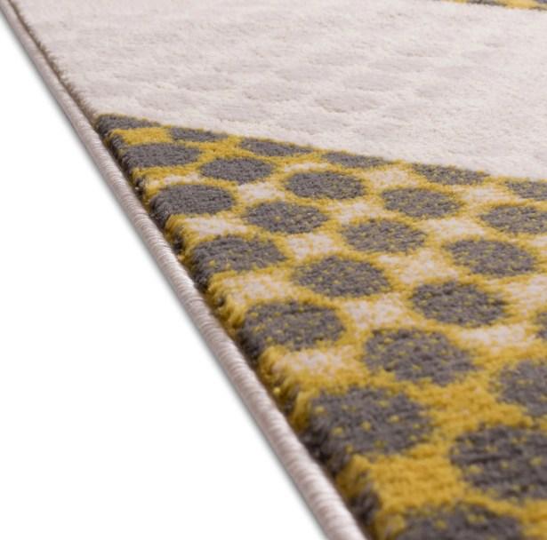 Devanna Modern Abstract Scrolls Yellow/Gray Area Rug Rug Size: 5'3