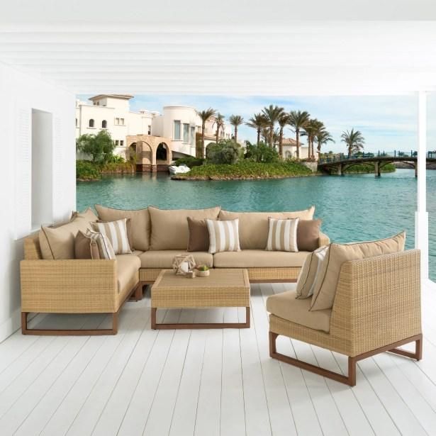 Addison 6 Piece Sunbrella Sectional Set with Cushions Fabric: Maxim Beige