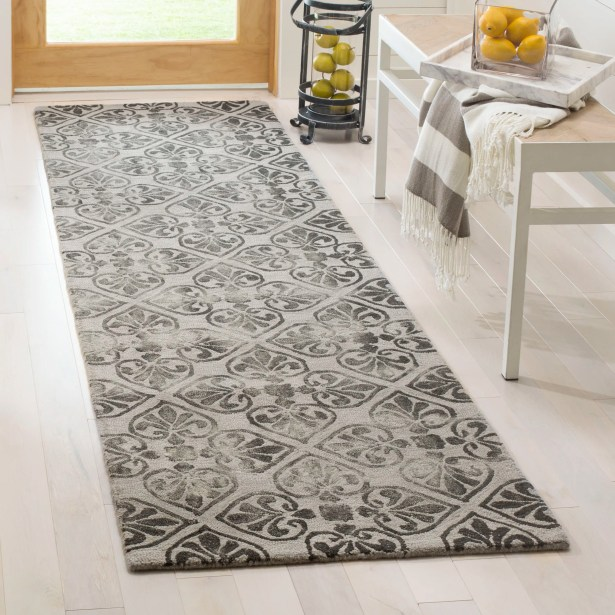Edmeston Hand-Tufted Gray Wool Area Rug Rug Size: Runner 2'3