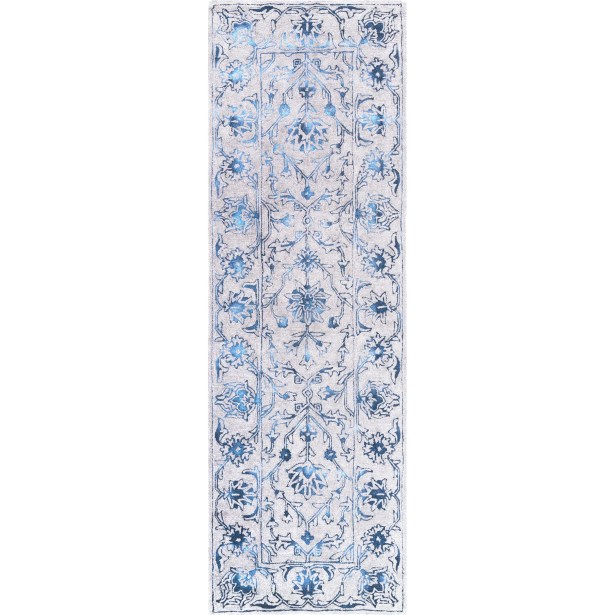 Lilyana Hand-Tufted Wool Blue/Ivory Area Rug Rug Size: Runner 2'6