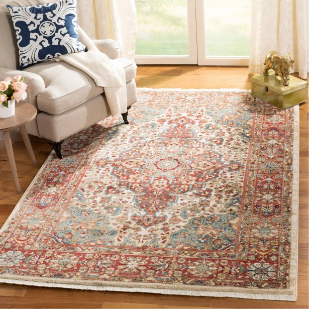 Kurtz Traditional Ivory/Blue Area Rug Rug Size: Rectangle 9' x 12'