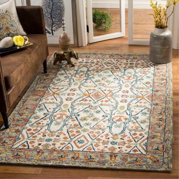 Garvin Hand-Tufted Wool Ivory/Blue Area Rug Rug Size: Round 7'
