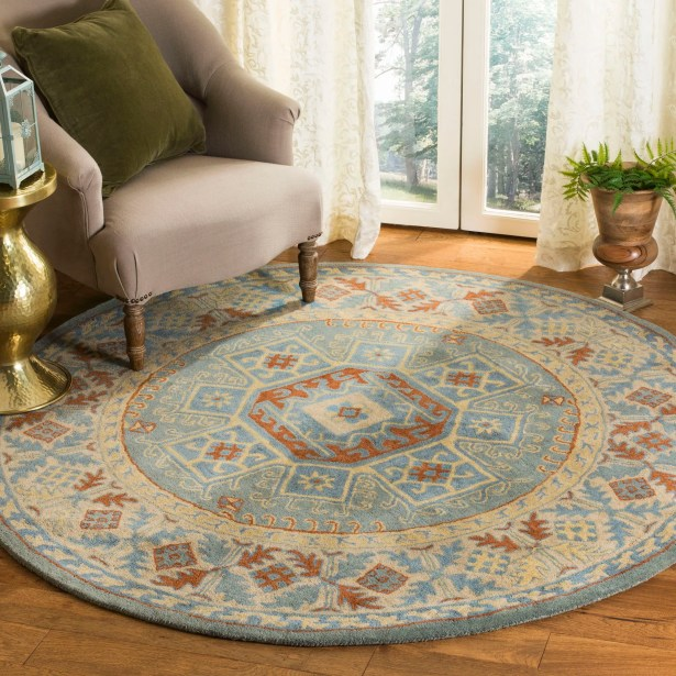 Moss Hand Tufted Wool Blue Area Rug Rug Size: Rectangle 8' x 10'