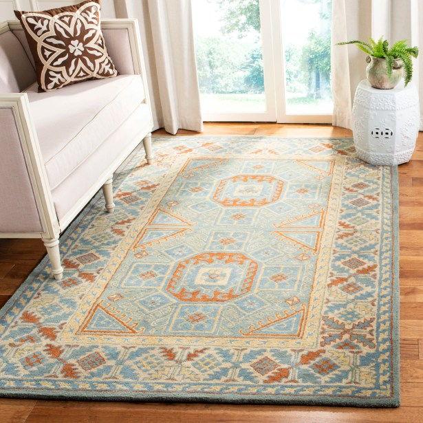 Moss Hand Tufted Wool Blue Area Rug Rug Size: Rectangle 5' x 8'