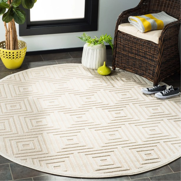 Awesome Candor Beige Outdoor Area Rug Rug Size Round 6 7