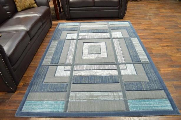 Mccampbell 3D Modern Contemporary Gray/Blue Area Rug