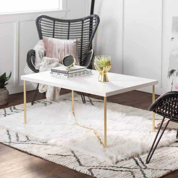 Seguin Coffee Table Table Base Color: Gold, Table Top Color: White