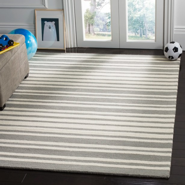 Brenner Barcode Hand-Tufted Gray Area Rug Rug Size: Square 5'