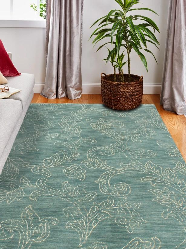 Kory Hand-Tufted Wool Teal Area Rug Rug Size: 7'6