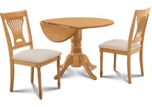 Dining Table Sets Chesterton 3 Piece Oak Solid Wood Dining Set