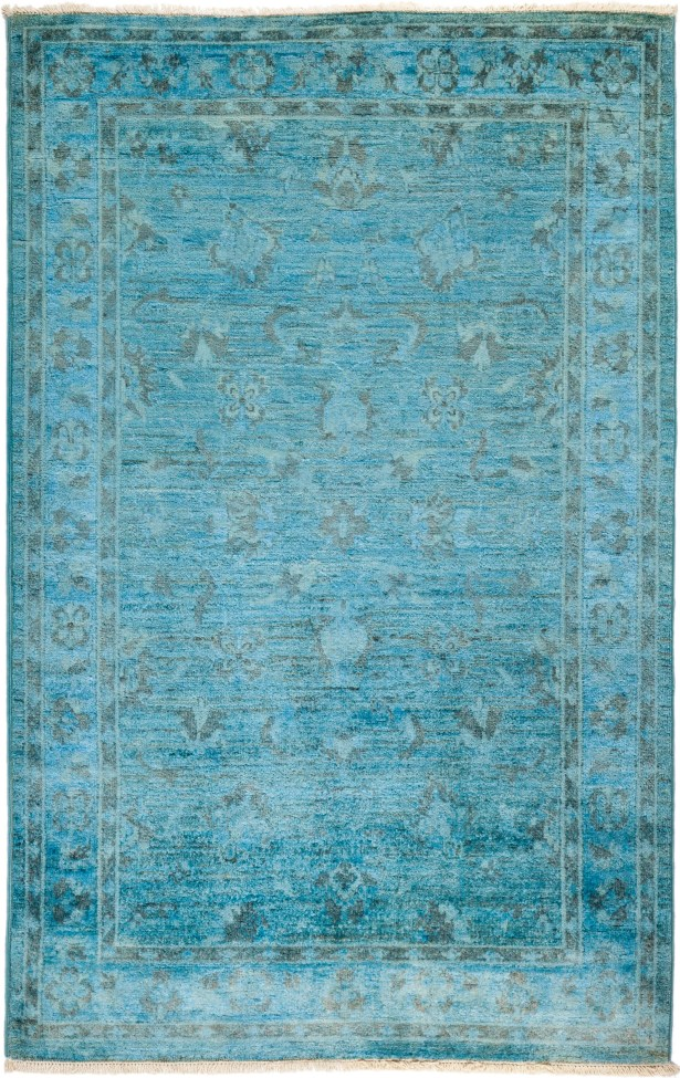 One-of-a-Kind Benjamin Hand Knotted Wool Blue Area Rug