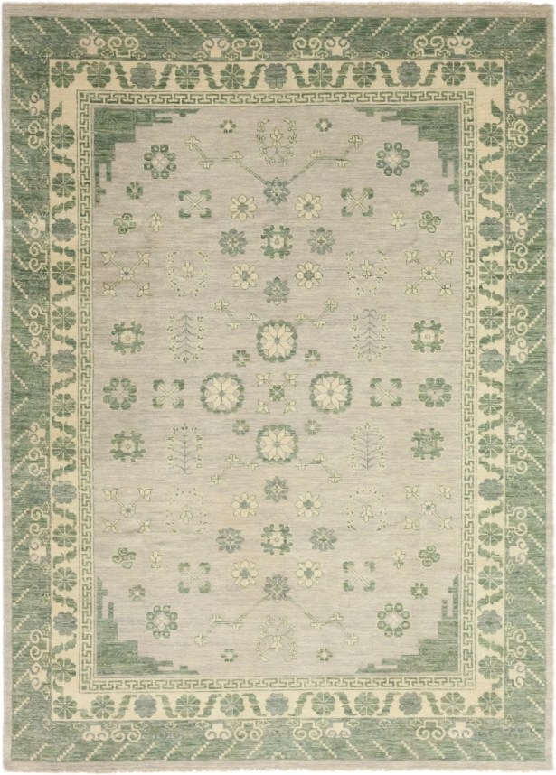 One-of-a-Kind Murzyn Hand-Knotted Wool Green/Gray Indoor Area Rug