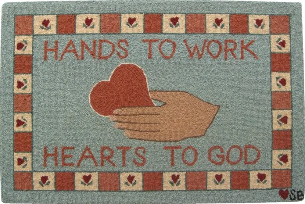 Heart in Hand Blue Area Rug Rug Size: Rectangle 2' x 3'