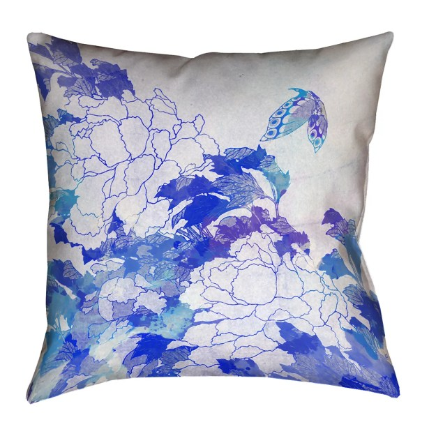 Raritan Watercolor Peonies and Butterfly Square Pillow Cover Size: 18