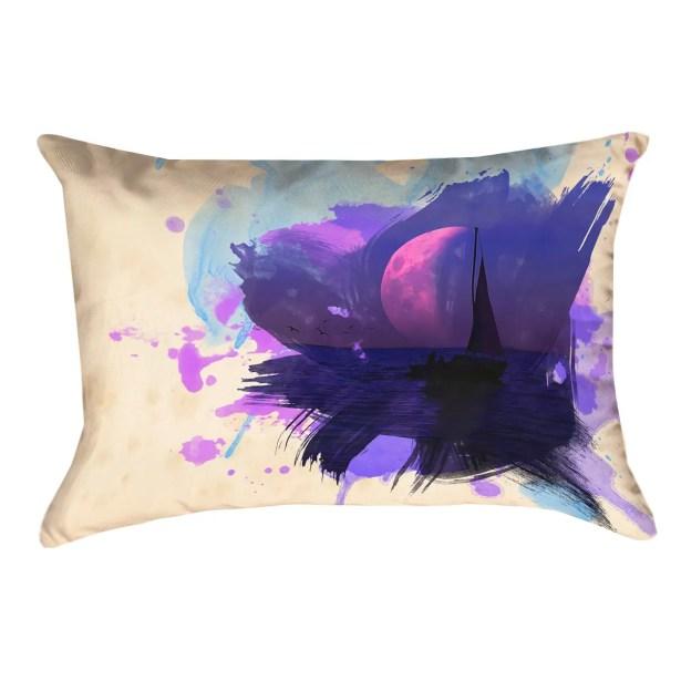 Houck Watercolor Moon and Sailboat Rectangular Pillow Cover