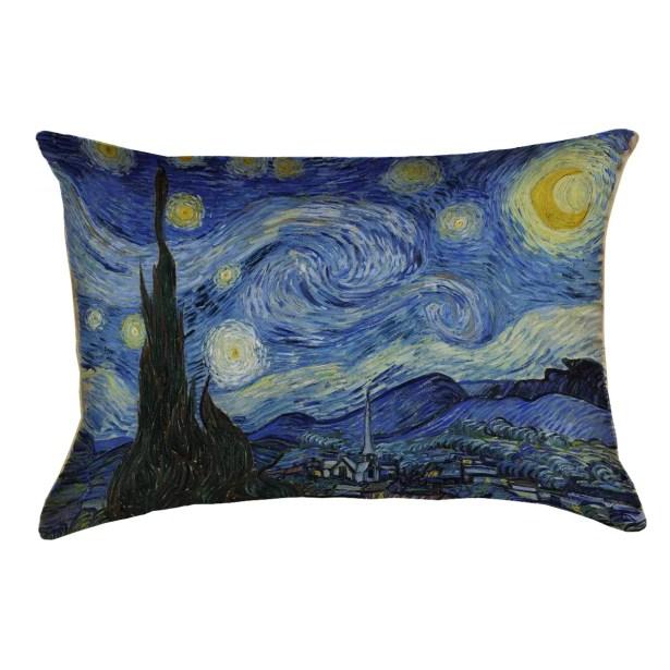 Woodlawn Starry Night Rectangular Linen Lumbar Pillow Color: Blue