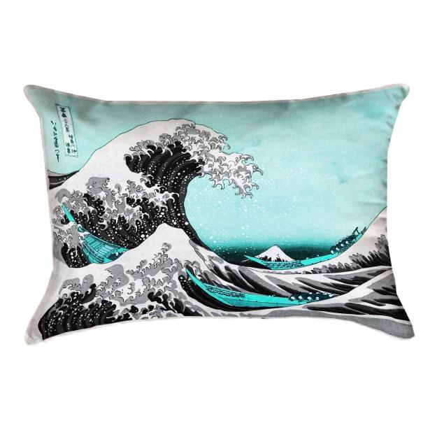 Raritan The Great Wave Cotton Lumbar Pillow Color: Teal