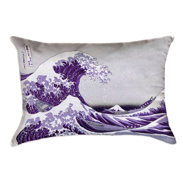 Raritan The Great Wave Leather Lumbar Pillow Color: Purple
