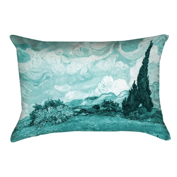 Woodlawn Wheatfield with Cypresses Lumbar Pillow Color: Teal