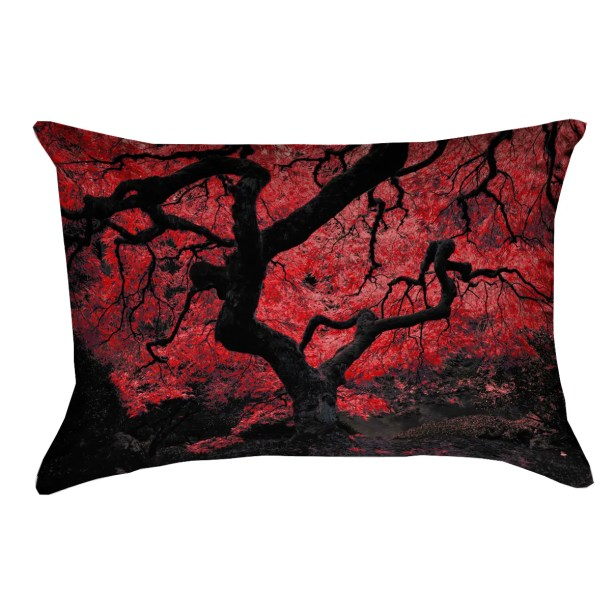 Ghost Train Japanese Maple Tree Linen Lumbar Pillow Color: Red