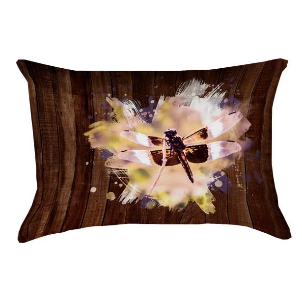 Hansard Watercolor Dragonfly Printed Rectangular Lumbar Pillow