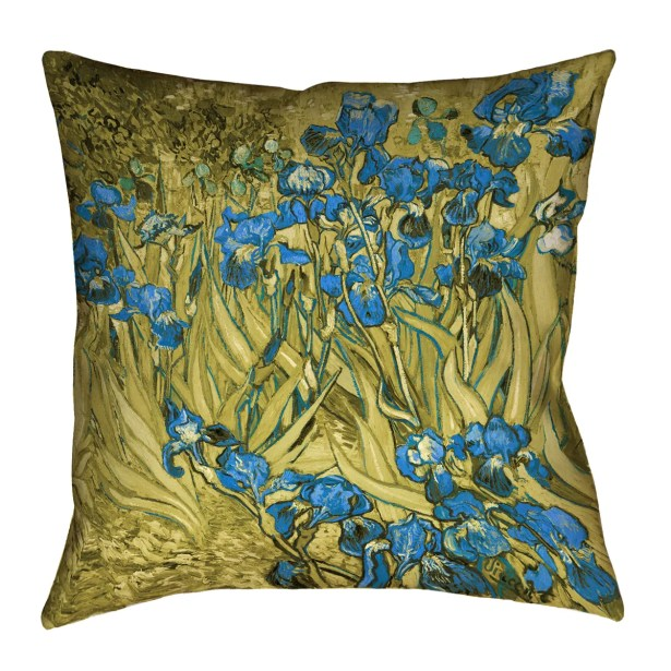 Bristol Woods Irises Square Pillow Cover Size: 16