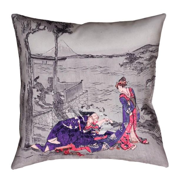 Enya Japanese Courtesan Floor Pillow Color: Indigo, Size: 28