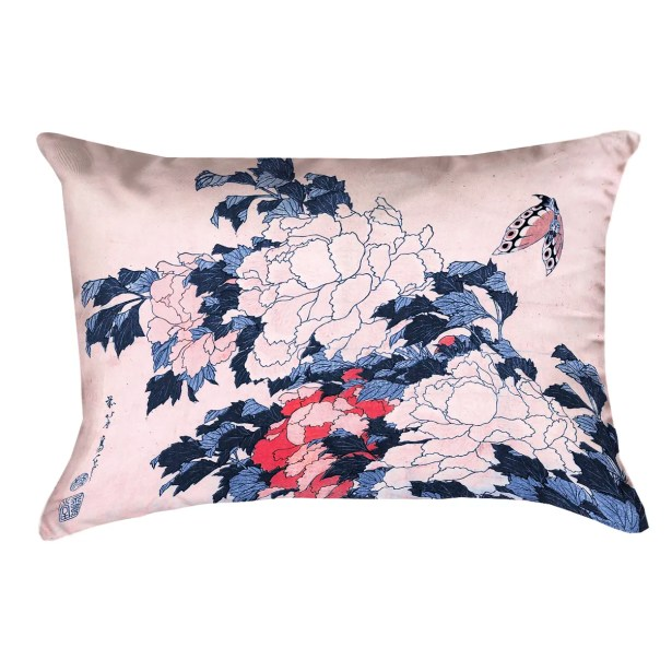 Clair Peonies and Butterfly Cotton Pillow Cover Color: Blue/Pink