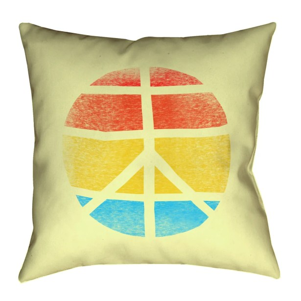 Jackie Peace Sign Suede Pillow Cover Size: 20