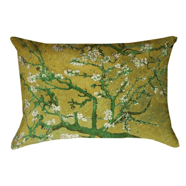Lei Almond Blossom Suede Lumbar Pillow Color: Yellow/Green