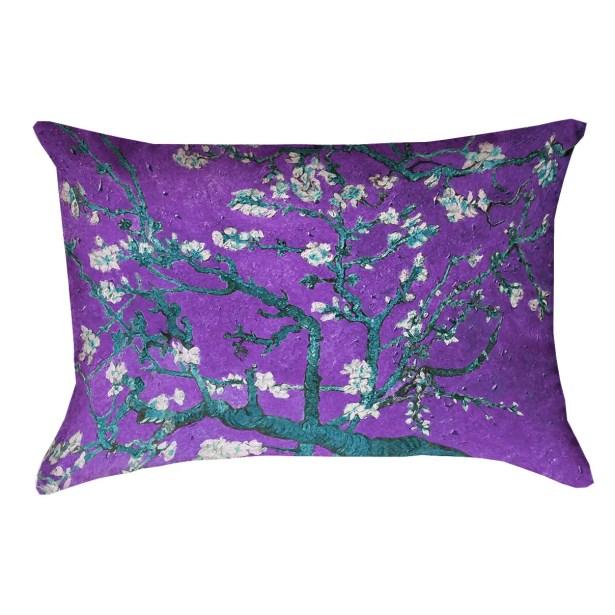Lei Almond Blossom Suede Lumbar Pillow Color: Purple/Blue