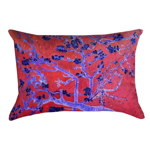 Lei Almond Blossom Rectangular Lumbar Pillow Color: Red/Blue