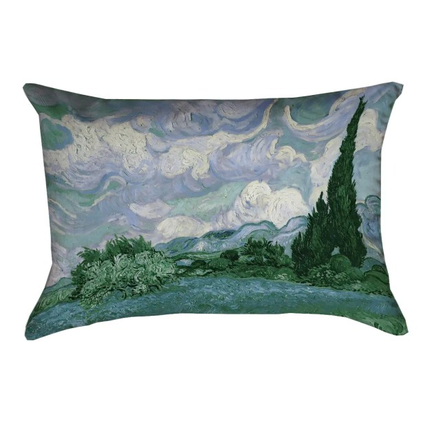 Bristol Woods Wheat Field with Cypresses Lumbar Pillow Color: Blue
