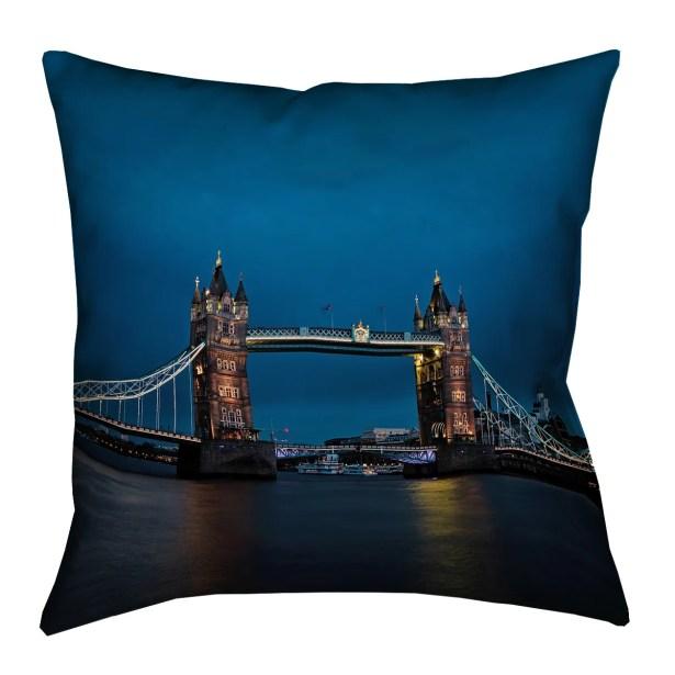 Holter Tower Bridge Spun Polyester Pillow Cover Size: 18