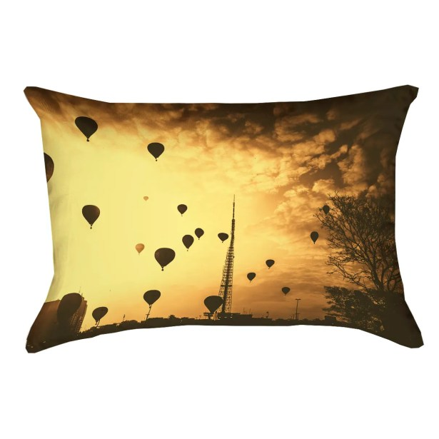 Deveal Sepia Hot Air Balloons Outdoor Lumbar Pillow