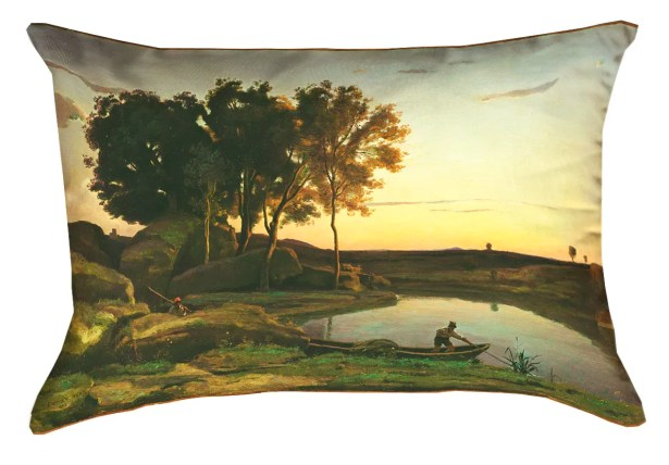 Welwyn Lake and Boatman Suede Pillow Cover
