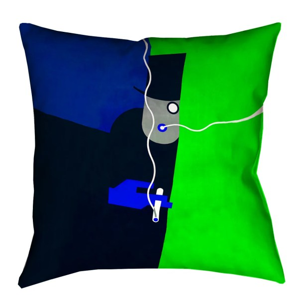 Hansard Vintage Art Poster Euro Pillow with Zipper Color: Blue/Green