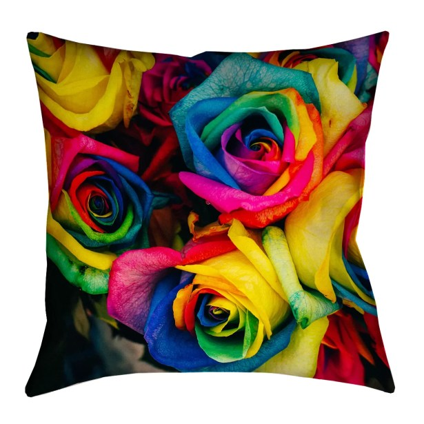 Avrah Double Sided Print Roses Pillow Cover Size: 16