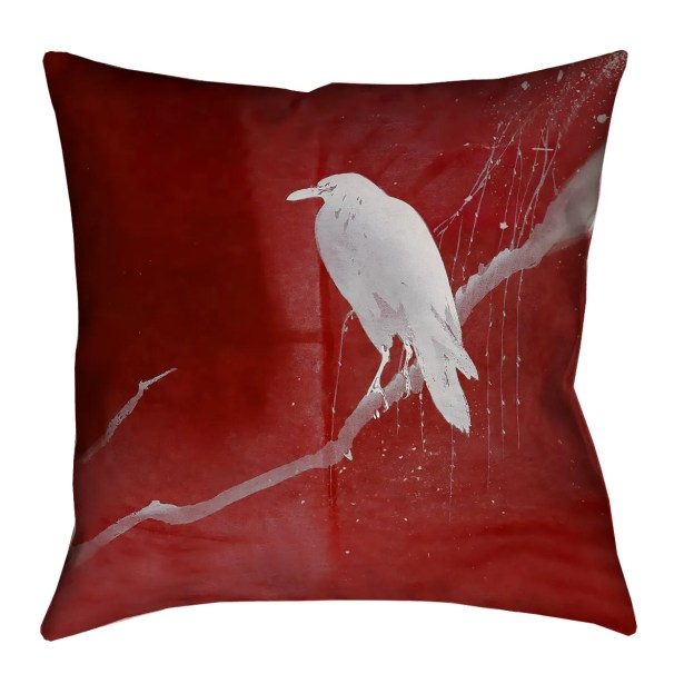 Hansard Crow and Willow Euro Pillow Color: Red/White