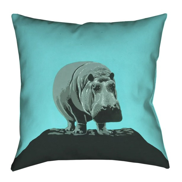 Hansard Vintage Teal Hippo Zoo Poster Throw Pillow Size: 16