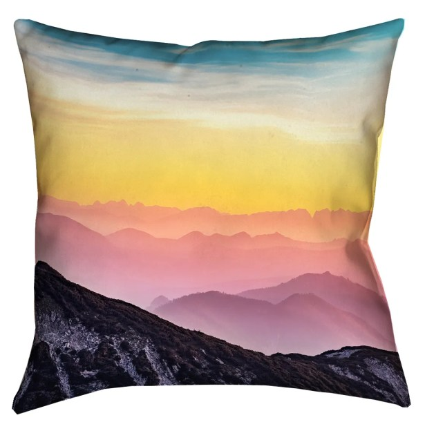 Thang Pastel Landscape Double Sided Print Square 100% Cotton Pillow Cover Size: 14