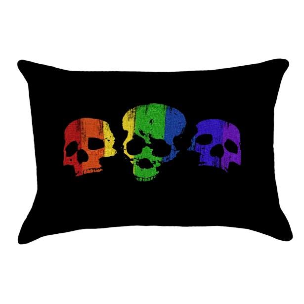 Rainbow Skulls Lumbar Pillow