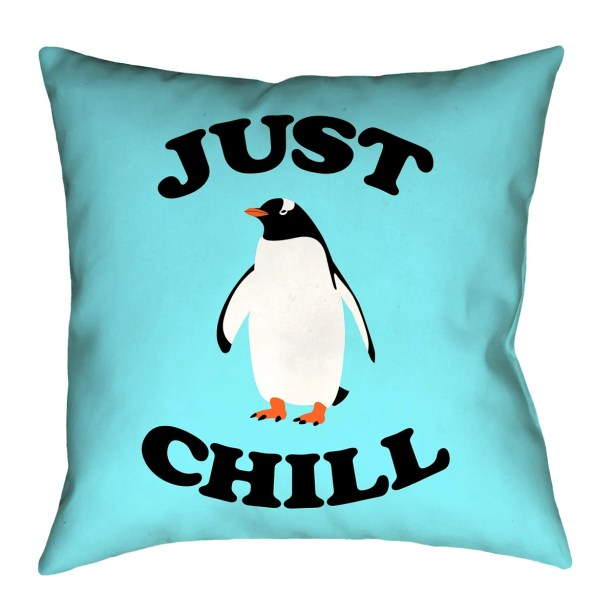 Enciso Just Chill Penguin Graphic Floor Pillow Size: 28