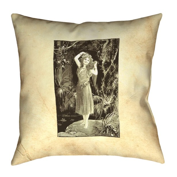 Aridas Vintage Forest Girl Square Pillow Size: 26