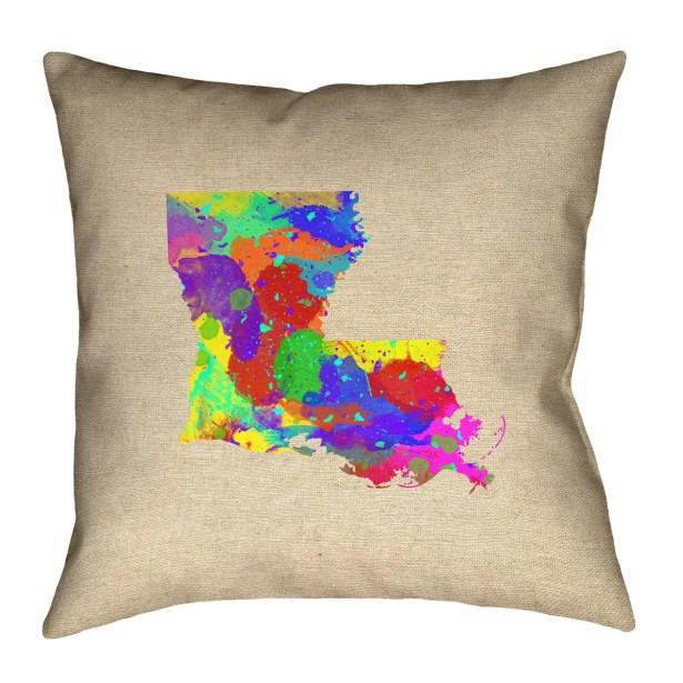 Austrinus Louisiana Watercolor Outdoor Throw Pillow Size: 18