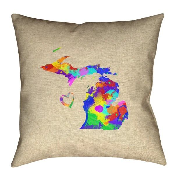 Austrinus Michigan Love Watercolor Floor Pillow Size: 36