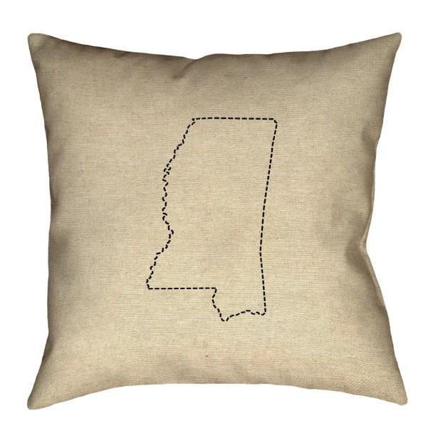 Austrinus Mississippi Dash Outline Double Sided Print Floor Pillow Size: 28