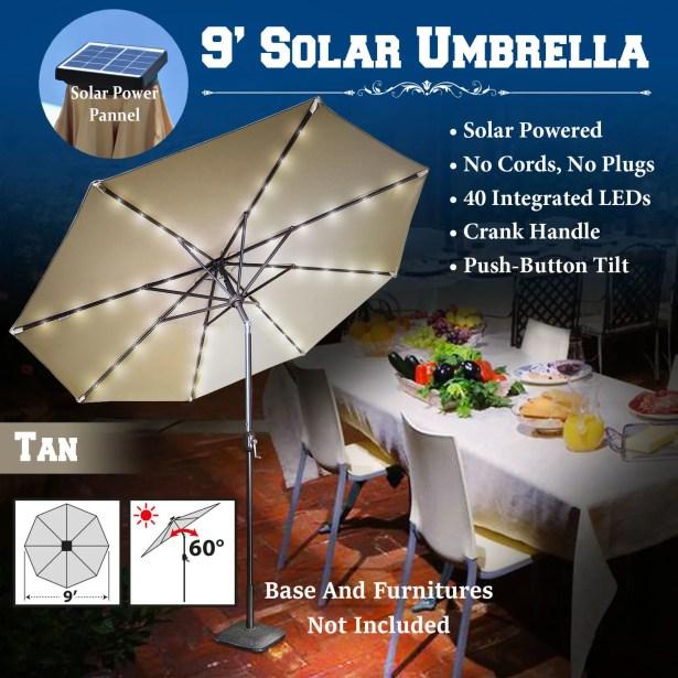 Abia 9' Lighted Umbrella Color: Tan