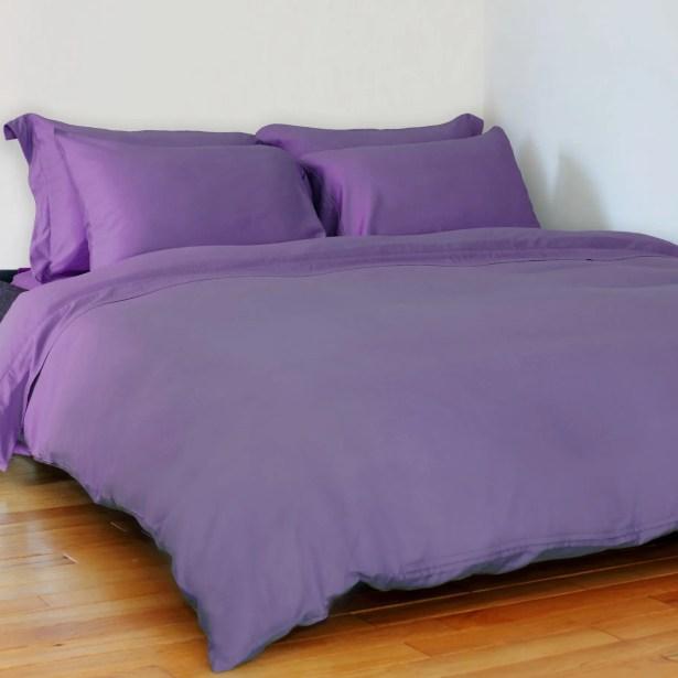 Edwina 4 Piece 350 Thread Count Sheet Set Size: King, Color: Purple