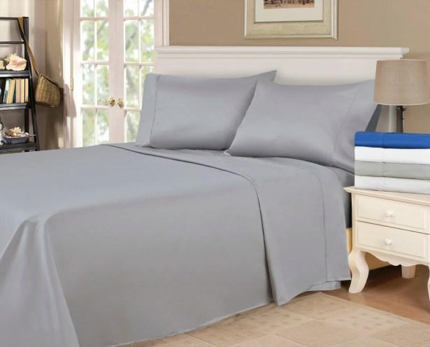 900 Thread Count 100% Cotton Sheet Set Color: Grey, Size: Queen